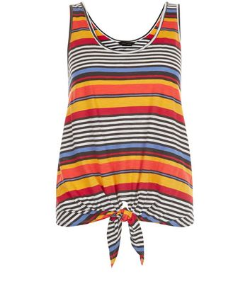 Product photo of Yellow stripe tie front sleeveless top