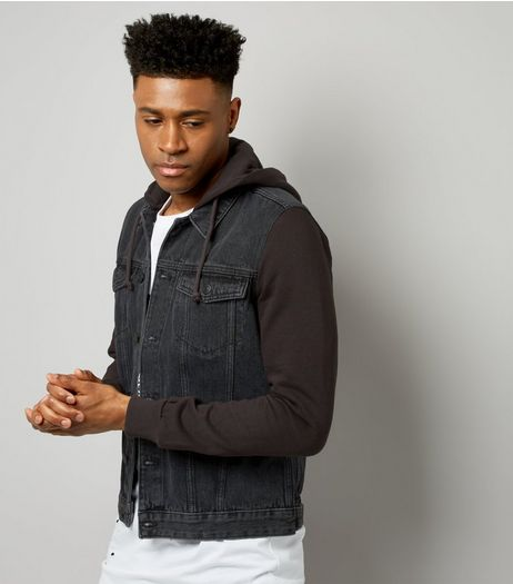 Grey Contrast Hooded Denim Jacket  | New Look