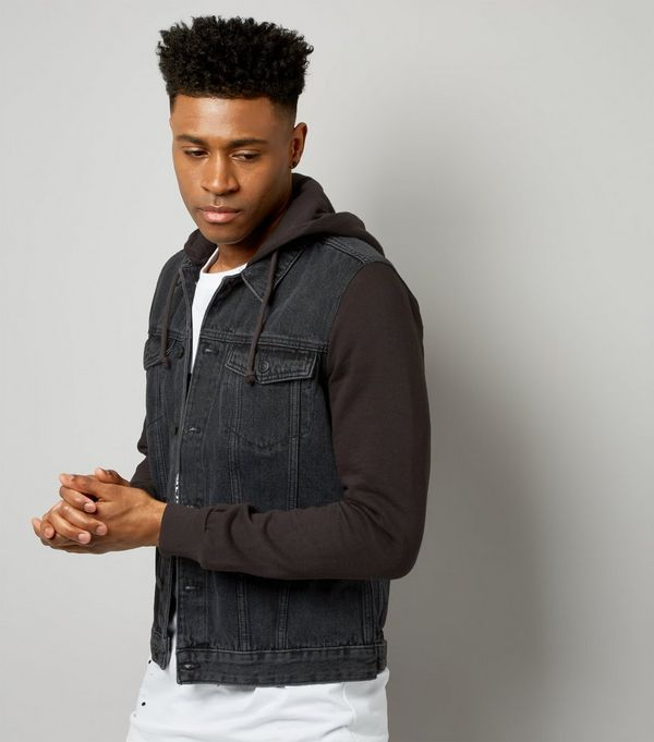 Images of Hooded Denim Jacket Mens - Reikian