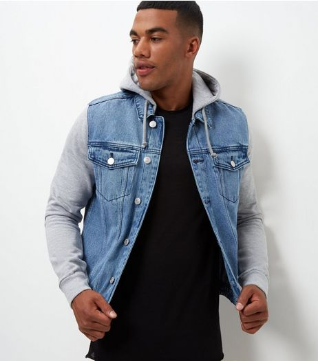 Blue Contrast Hooded Denim Jacket  | New Look