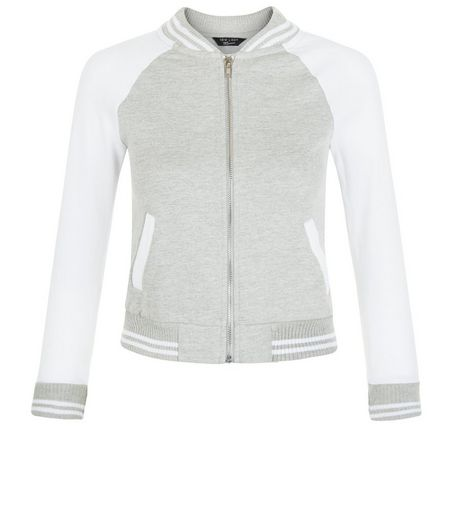 Girls Grey Contrast Zip Up Sweater | New Look