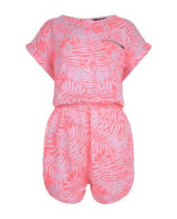Teens Pink Tropical Print Short Sleeve Playsuit | New Look