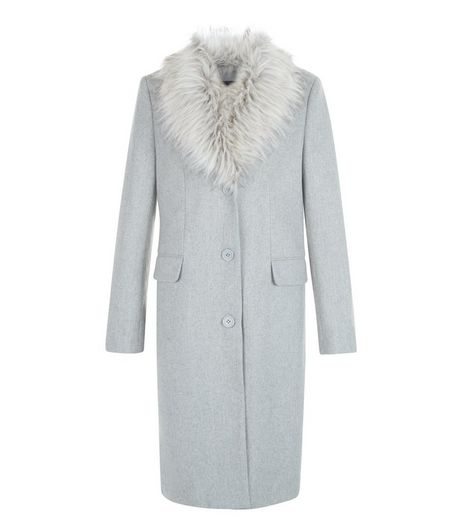 Teens Grey Faux Fur Collar Coat | New Look