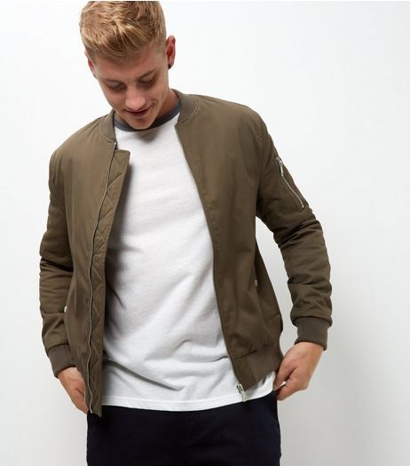 Khaki Zip Sleeve Bomber Jacket  | New Look