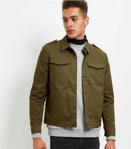 Khaki Double Pocket Military Shacket | New Look