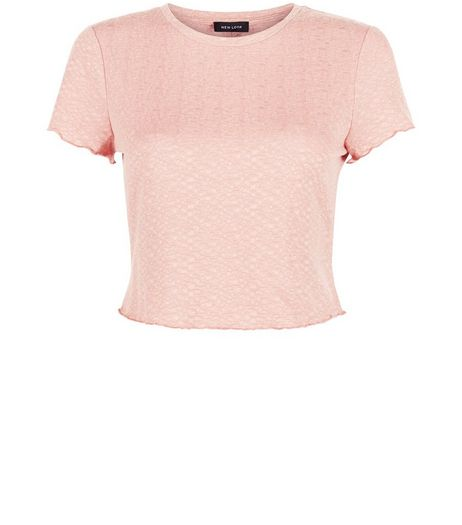 Shell Pink Textured Frill Trim T-Shirt  | New Look