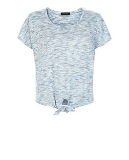 Blue Fine Knit Space Dye Tie Front T-Shirt  | New Look