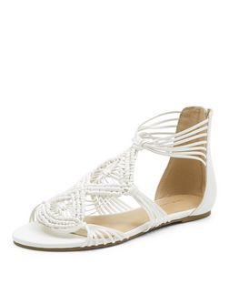White Crochet Cut Out Sandals  | New Look