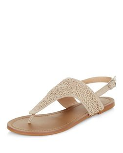 Cream Embroidered Sling Back Sandals  | New Look