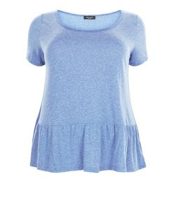 Plus Size Blue Peplum T-Shirt  | New Look