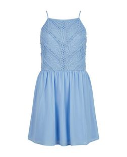 Teens Blue Lace High Neck Dress | New Look