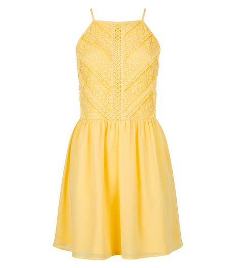 Teens Yellow Lace High Neck Dress | New Look