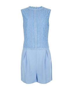 Teens Blue Lace Panel Playsuit | New Look