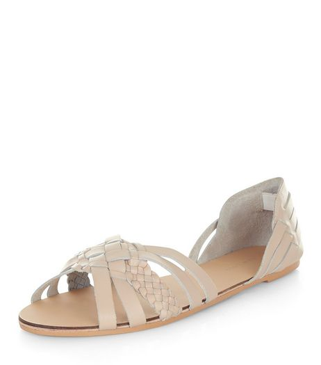 Cream Leather Plaited Strap Sandals  | New Look