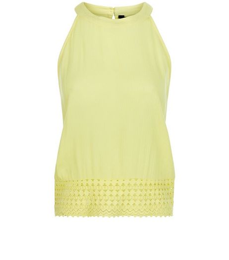 Teens Yellow Crochet Hem High Neck Top | New Look