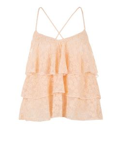 Shell Pink Lace Layered Cami  | New Look