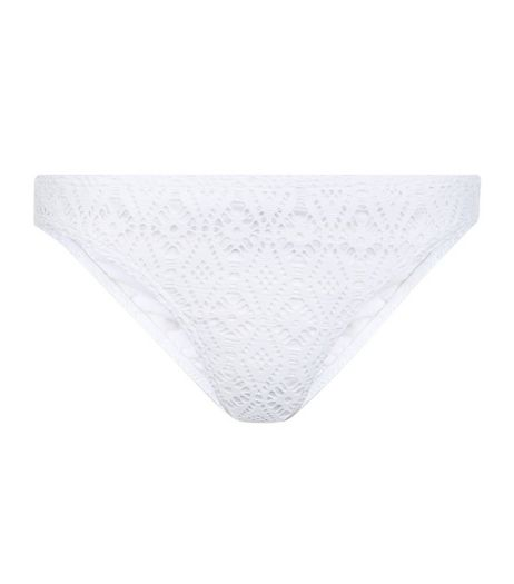 White Crochet Panel Bikini Bottoms | New Look