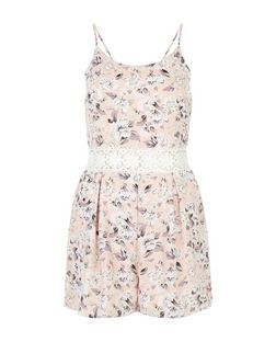 Parisian Pink Floral Print Crochet Panel Playsuit | New Look