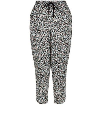 Black Ditsy Floral Print Cropped Joggers
