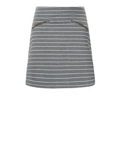 Teens Grey Stripe Zip Pocket A-Line Skirt | New Look