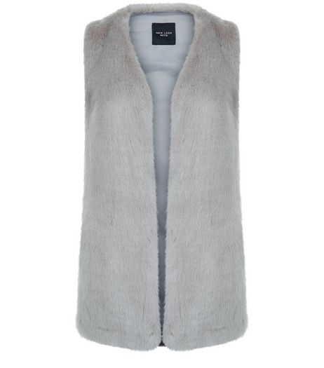 Petite Grey Faux Fur Gilet | New Look