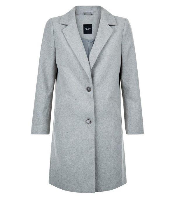 Petite Grey Longline Coat