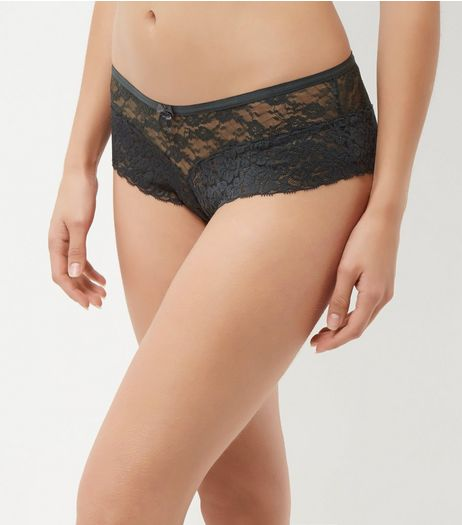 Khaki Floral Lace Leg Brazilian Briefs | New Look