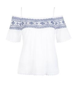 Petite White Embroidered Trim Cold Shoulder Top  | New Look