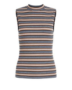 Petite Grey Stripe Sleeveless Top | New Look