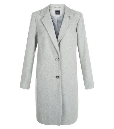 Tall Grey Longline Coat | New Look
