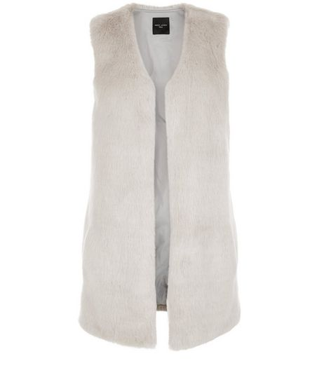 Tall Grey Faux Fur Gilet | New Look