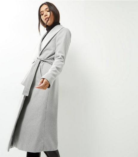Tall Grey Belted Longline Coat | New Look