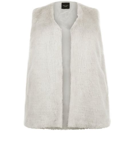Curves Grey Faux Fur Gilet | New Look