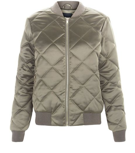 Khaki Quilted Bomber Jacket  | New Look