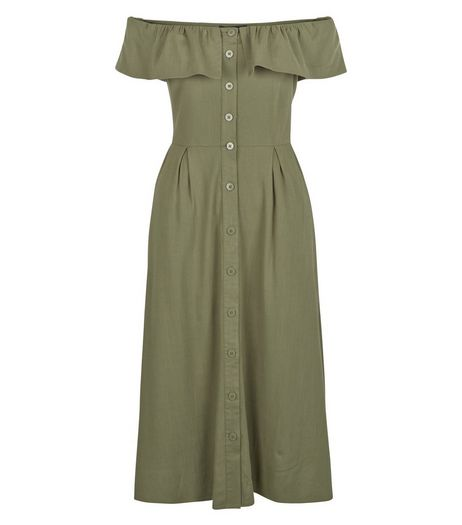 Khaki Button Front Frill Bardot Neck Midi Dress  | New Look