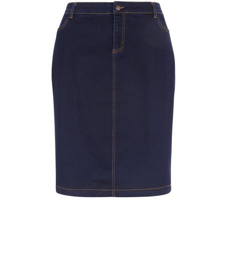 Curves Dark Blue Denim Pencil Skirt | New Look