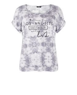 Plus Size Grey Tie Dye Los Angeles Print T-Shirt | New Look