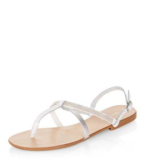 White Leather Diamante Strap Sandals | New Look