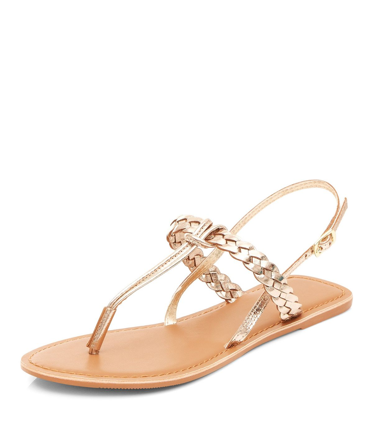 Gold Leather Plaited Sandals | New Look