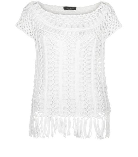 White Crochet Tassel Hem Top  | New Look