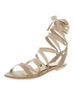 Cream Suedette Ribbon Ghillie Sandals  | New Look