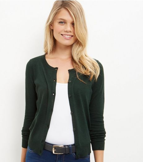 Dark Green Cardigan  | New Look