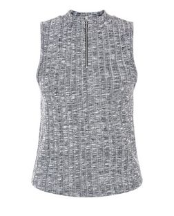Grey Fine Knit Zip Front Funnel Neck Sleeveless Top  | New Look
