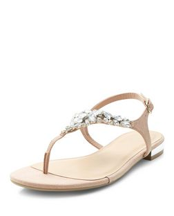 Cream Suedette Embellished Sandals | New Look