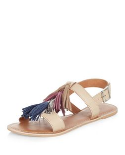 Nude Leather Tassel Strap Sling Back Sandals  | New Look