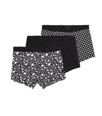 3 Pack Black Abstract Print Trunks