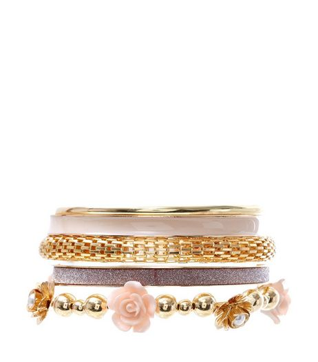 Pink Carved Rose Multi Bangle Set  | New Look