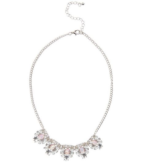 White Crystal Floral Necklace  | New Look