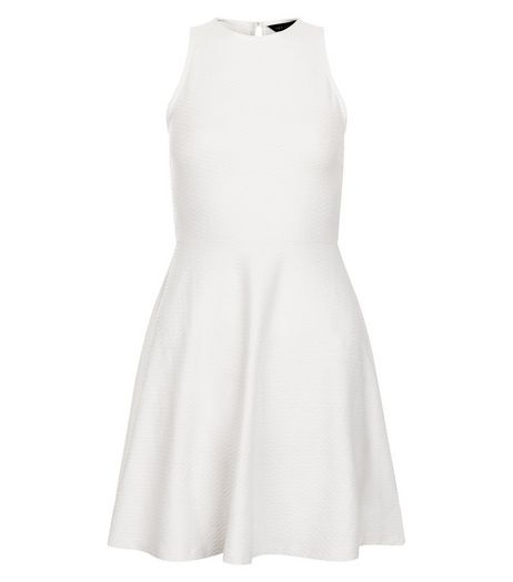 Petite White High Neck Skater Dress | New Look