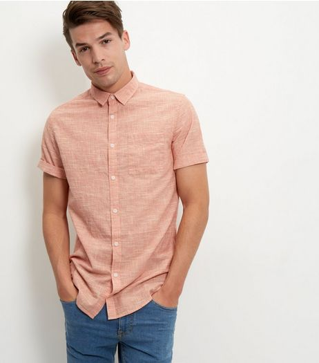 Peach Textured Single Pocket Roll Sleeve Shirt  | New Look